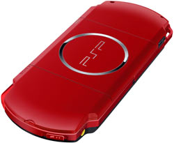 Back view of the Red/Black PSP-3000 included with the PSP Limited Edition God of War: Ghost of Sparta Entertainment Pack