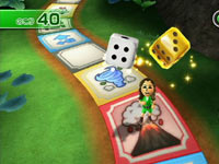 In-game Party Game Mode use of a game board from Wii Party