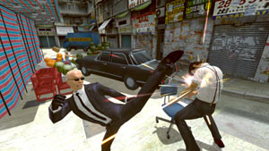 Toby getting nailed by a kick from a mobster in Kung Fu Rider