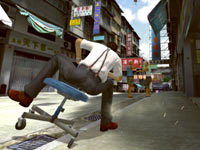 Toby tearing through the backstreets on his chair in Kung Fu Rider