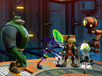 The four playable characters in-game, together between battles in Ratchet & Clank: All 4 One