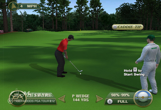 Tiger playing a wedge from the fairway in Tiger Woods PGA Tour 12: The