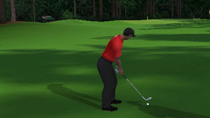 Tiger playing a wedge from the fairway in Tiger Woods PGA Tour 12: The Masters for Wii