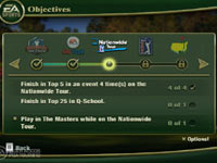 Objectives screen from Tiger Woods PGA Tour 12: The Masters for Wii