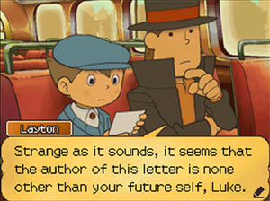 Luke and the Professor discovering that time travel has something to do with this adventure in Professor Layton and the Unwound Future