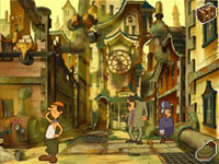 A street scene with NPCs from Professor Layton and the Unwound Future