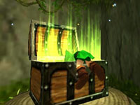 Link claiming treasure in The Legend of Zelda: Ocarina of Time 3D