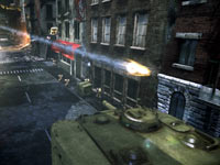 A vertical tank taking rocket fire from cover in Steel Battalion: Heavy Armor