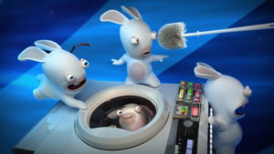 Hero shot of the Rabbids and their Time/Washing machine from Raving Rabbids: Travel in Time