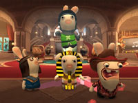 Four of the 30 available costumes available in-game to customize your Rabbids in Raving Rabbids: Travel in Time