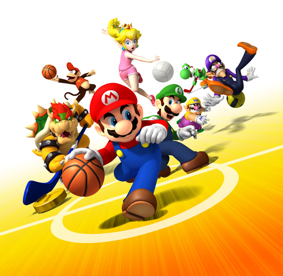 Key art showing a sampling of the characters available and sports