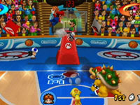 Mario dunking on Luigi in the basketball game included in Mario Sports Mix