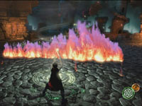 Using the PlayStation Move motion controller and a flame barrier spell to hold off enemies in Sorcery