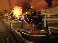 Dollface putting a squad of attacking hellicopters through the Meat Grinder in Twisted Metal
