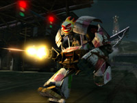 Run n' gun using the Sweet Bot mech in Twisted Metal