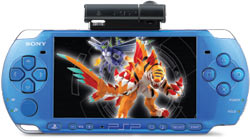 Vibrant Blue PSP-3000 with attached PSP camera and InviZimals game on screen