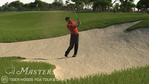Tiger chipping out of a sand trap in Tiger Woods PGA Tour 12: The Masters
