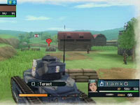 Tank unit approaching an enemy scout unit in Valkyria Chronicles 2