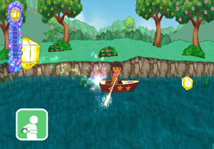 Using the Wii Remote to paddle a boat in Dora the Explorer: Doras Big Birthday Adventure