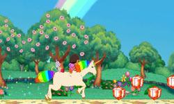 Riding a unicorn towards collectable gems in Dora the Explorer: Dora's Big Birthday Adventure