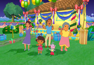 Dora and her family dancing at the party in Dora the Explorer: Dora's Big Birthday Adventure