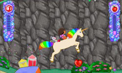 Dora and Boots riding a unicorn towards collectable gems in Dora the Explorer: Dora's Big Birthday Adventure