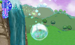 Passing over a waterfall in a bubble in Dora the Explorer: Dora's Big Birthday Adventure