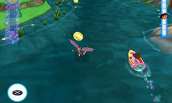 On-screen PS2 controller prompts while navigating a boat in Dora the Explorer: Dora's Big Birthday Adventure