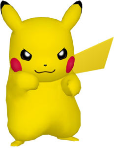 Pikachu posing in fighting form in PokéPark Wii: Pikachu's Adventure