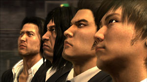 The four playable characters of Yakuza 4