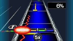 Note Highway gameplay in Rock Band 3 for DS