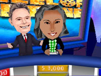Host Pat Sajak with contestant after a win in Wheel of Fortune for DS