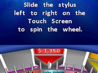 Spinning the wheel with the DS stylus in Wheel of Fortune for DS