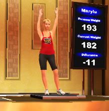 A Female contestant on the scale in The Biggest Loser Challenge