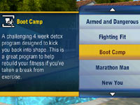 The Boot Camp environment with associated difficulty levels in The Biggest Loser Challenge