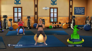 Jillian Michaels doing crunches on an exercise ball in The Biggest Loser: Ultimate workout