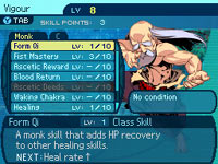 Monk character stats from Etrian Odyssey III: The Drowned City