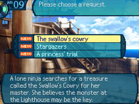 Choices to be made during a sea-going quest in Etrian Odyssey III: The Drowned City