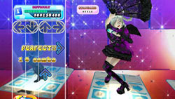 On-screen dancer grooving out a perfect combo in DanceDanceRevolution for Wii