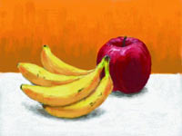 A still life with fruit created using Art Academy