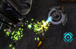 Max using a turret gun against attacking bugs in Centipede: Infestation
