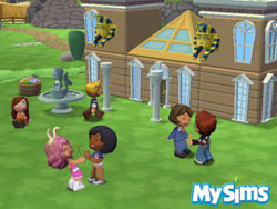 An outdoor Sim party in progress in MySims