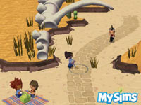 Sims in a desert environment in MySims