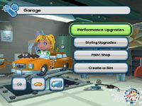 The car and Sims main customization screen from MySims Racing