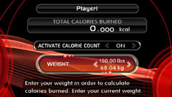 Calorie counting screen from DanceDanceRevolution for PS3