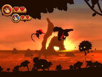 Silhouetted co-op level from Donkey Kong Country Returns