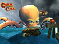 Co-op screen as Donkey Kong and Diddy try to platform past a giant octopus in Donkey Kong Country Returns