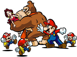 Game illustration showing Pauline, Donkey Kong, Mario and Mini Marios