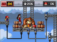 Donkey Kong with Pauline and a supply of barrels in Mario vs. Donkey: Kong Mini-Land Mayhem!