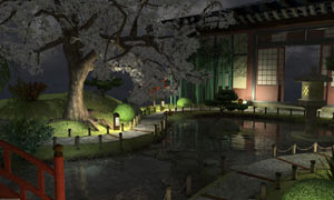 Traditional Japanese garden setting from Nancy Drew: Shadow at the Water's Edge